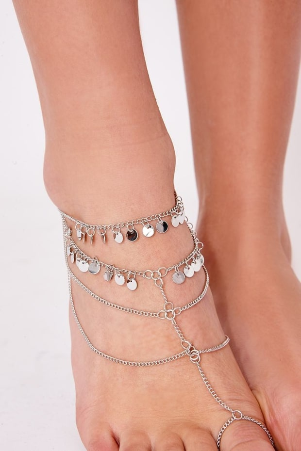 SILVER FOOT HARNESS ANKLET
