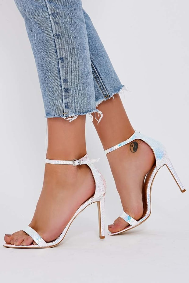 RIONA SILVER MERMAID IRIDESCENT BARELY THERE HEELS