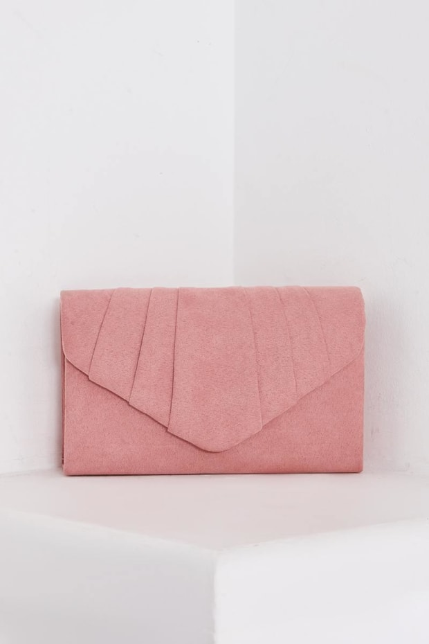 BLUSH FAUX SUEDE FOLD OVER CLUTCH BAG