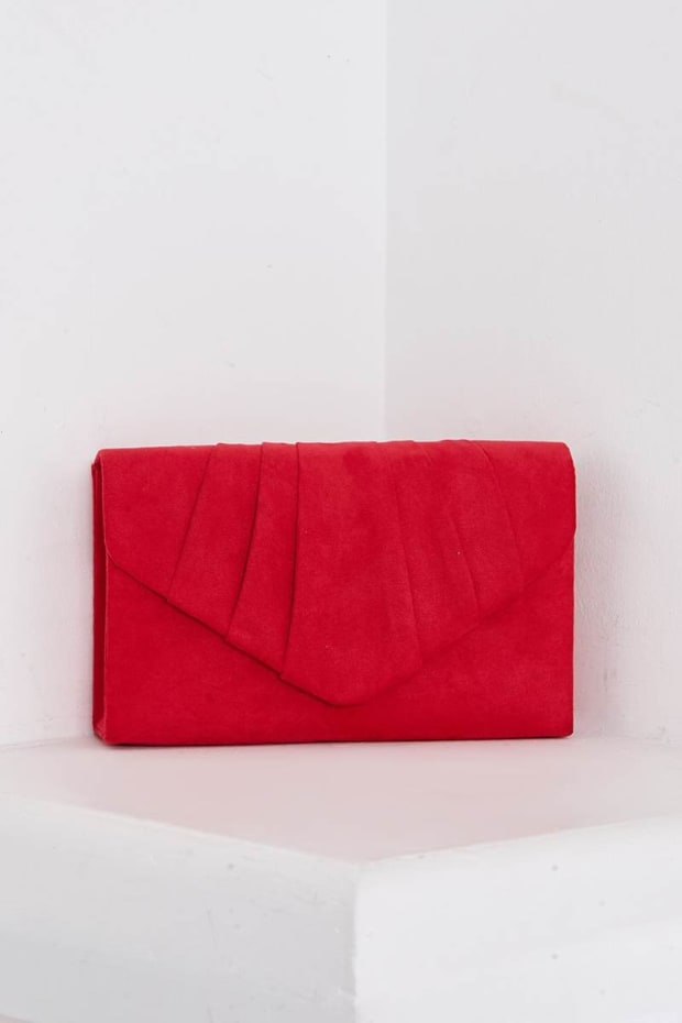 RED FAUX SUEDE FOLD OVER CLUTCH BAG