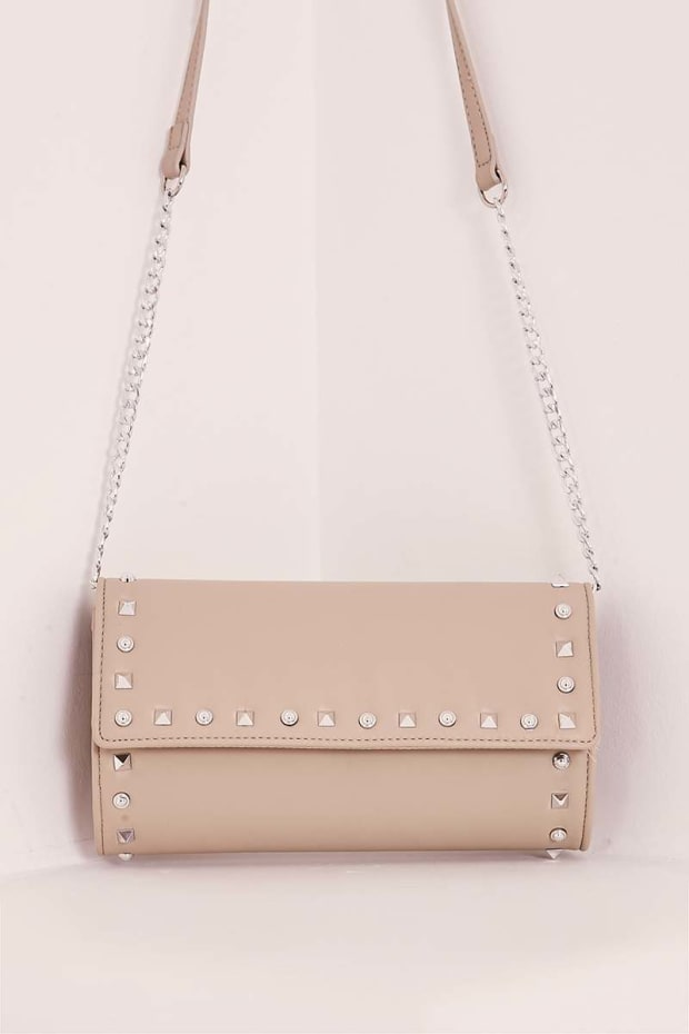 NUDE FAUX LEATHER STUDDED CLUTCH BAG
