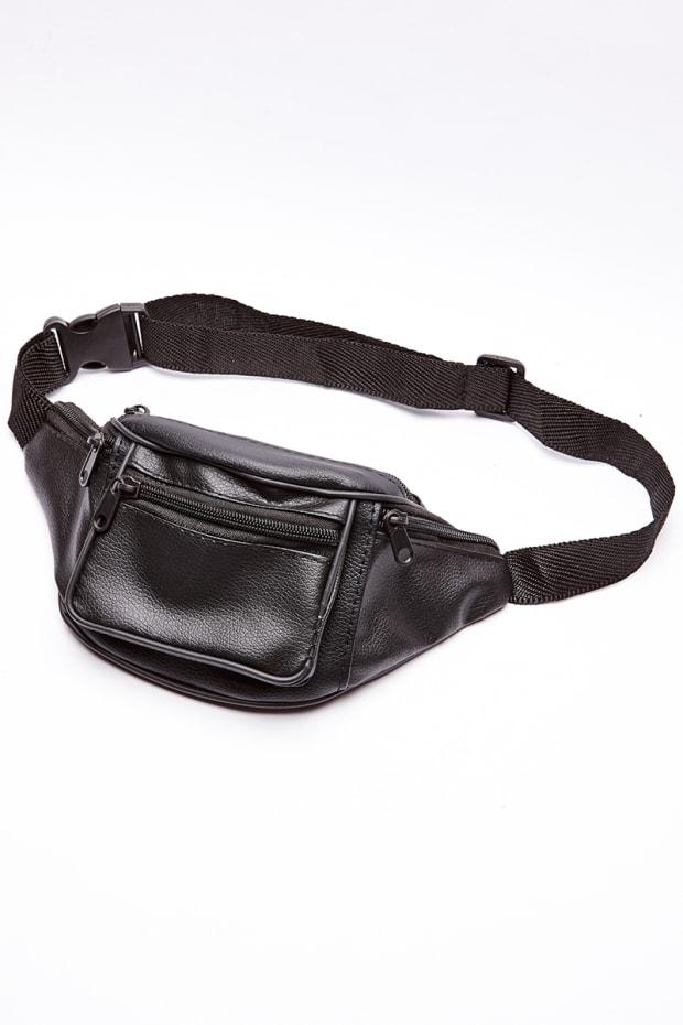 BLACK FAUX LEATHER BUM BAG
