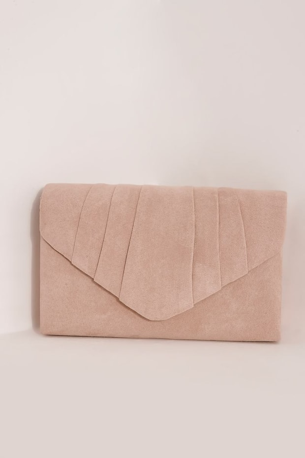 NUDE FAUX SUEDE FOLD OVER CLUTCH BAG