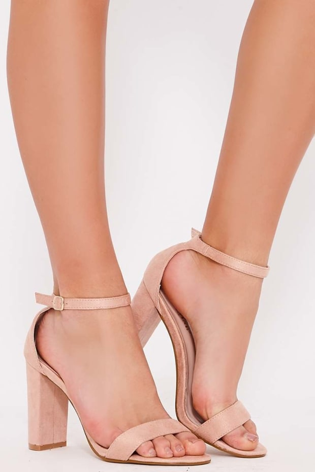 PAYDEN NUDE FAUX SUEDE ANKLE STRAP HEELS