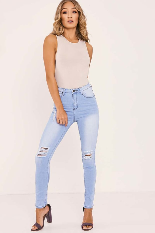 ELENA LIGHT WASH HIGH WAISTED RIPPED SKINNY JEANS