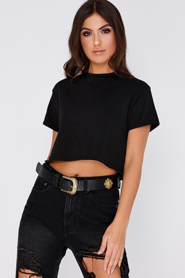 BLACK GOLD DETAIL SINGLE BUCKLE WESTERN BELT