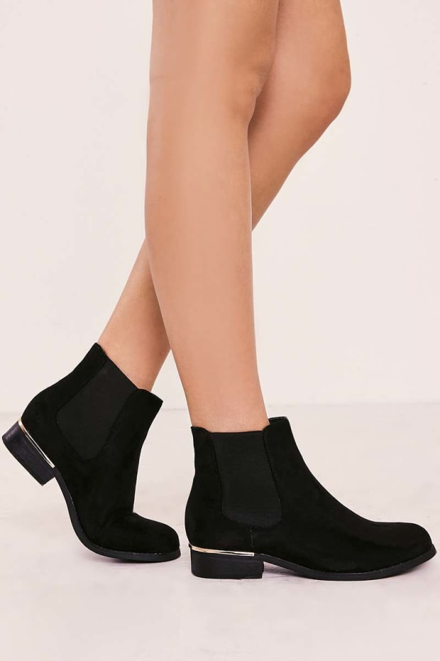 VIERA BLACK FAUX SUEDE ANKLE BOOTS