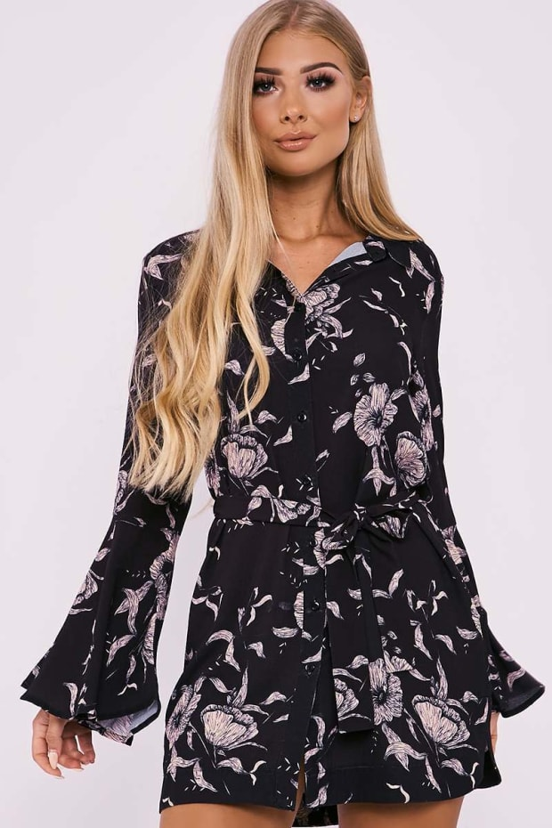 BILLIE FAIERS BLACK FLORAL PRINT FLARED SLEEVE SHIRT DRESS