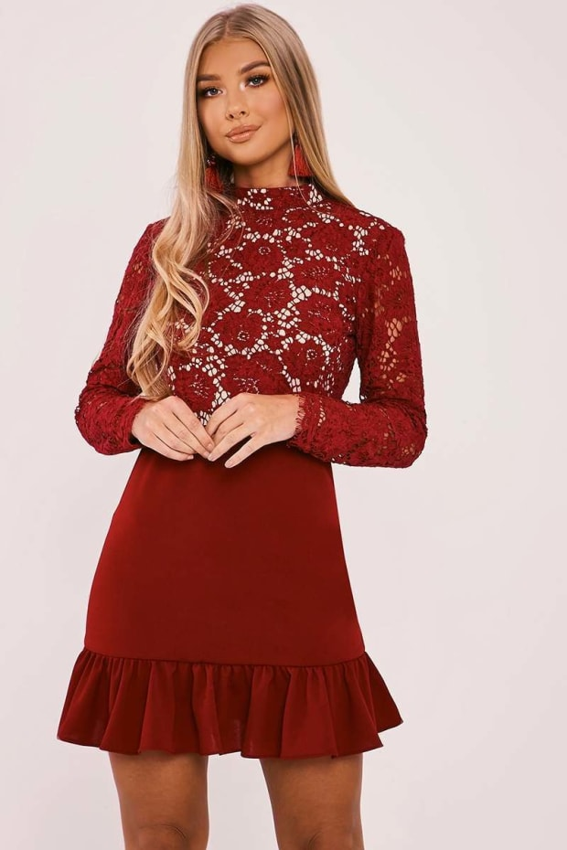 BILLIE FAIERS BERRY LACE TOP PEPHEM DRESS