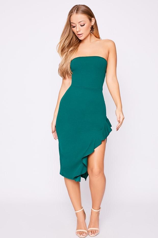 684b0becf73 Billie Faiers Green Bandeau Frill Side Midi Dress