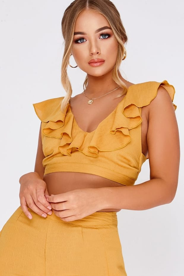 BILLIE FAIERS MUSTARD FRILL CO ORD TOP