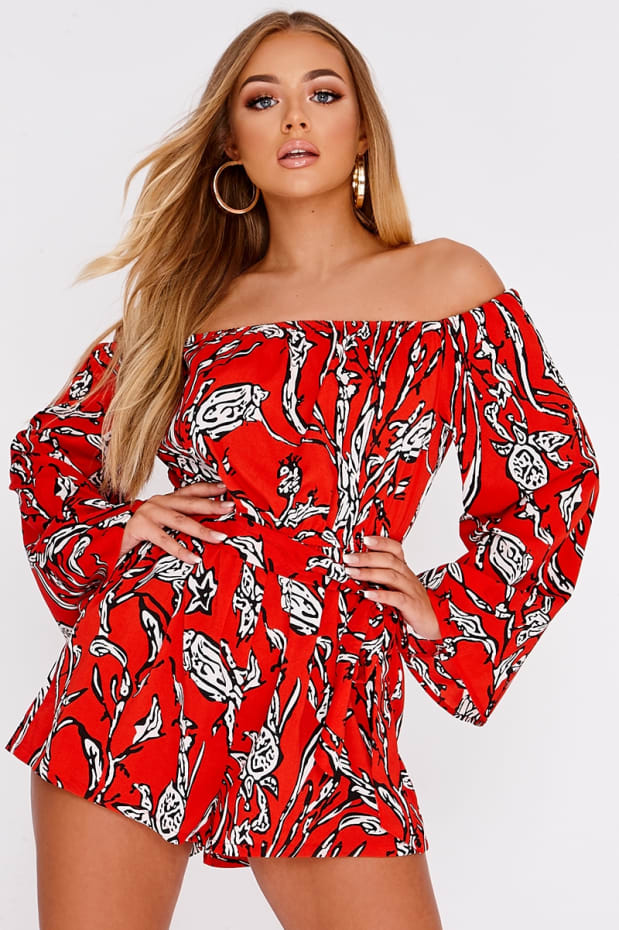 BILLIE FAIERS RED ABSTRACT FLORAL BARDOT FLARE SLEEVE PLAYSUIT