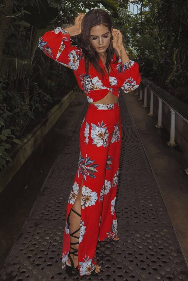 BINKY RED FLORAL PRINT PALAZZO TROUSERS