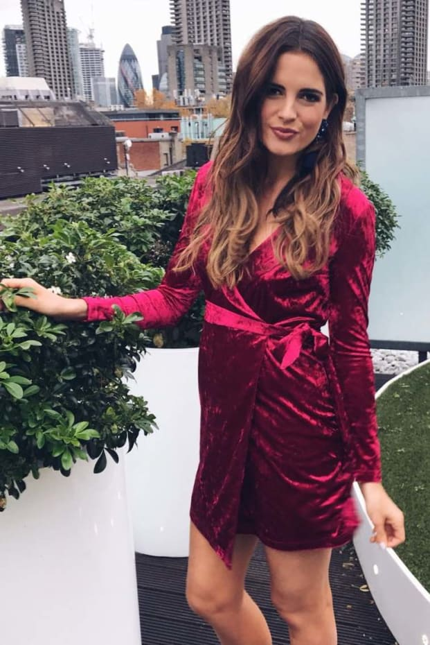 BINKY FUCHSIA VELVET WRAP DRESS