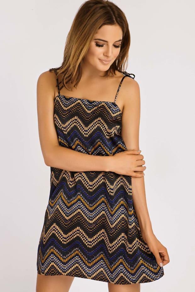 Binky Zig Zag Print Silky Cami Dress