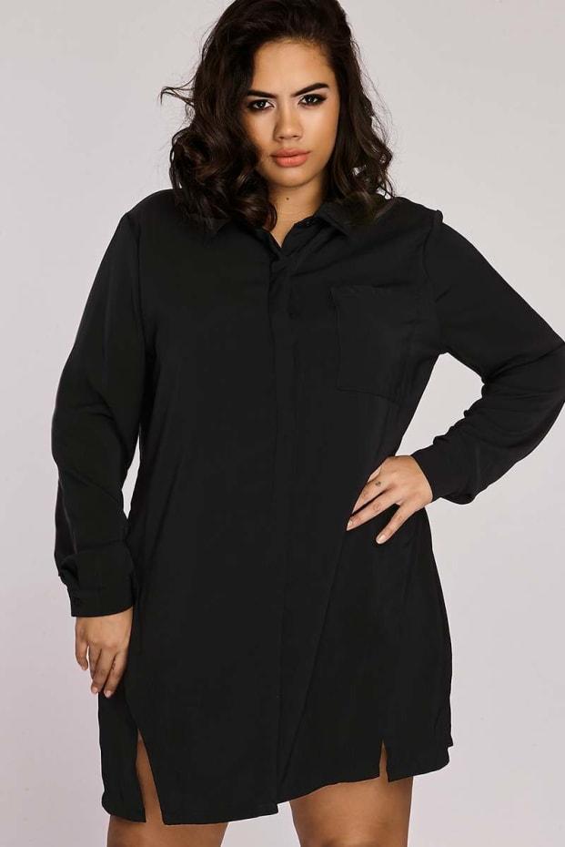 Curve Binky Black Split Front Shirt Dress