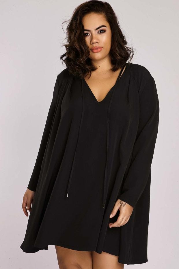 CURVE BINKY BLACK PLEATED SWING DRESS