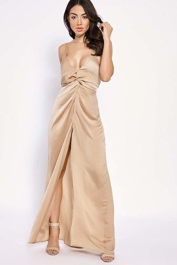 BINKY CAMEL SILKY KNOT FRONT MAXI DRESS