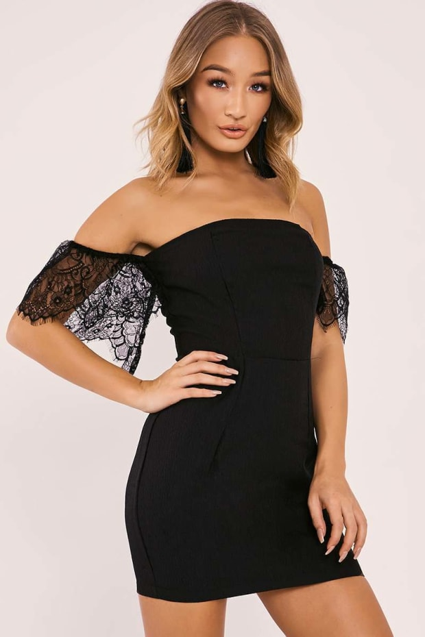 AILSA BLACK LACE SLEEVE BARDOT BODYCON DRESS