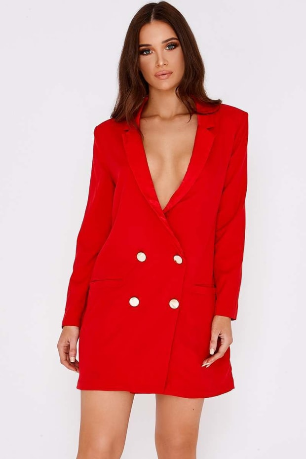 BINKY RED SATIN TRIM OVERSIZED BLAZER DRESS