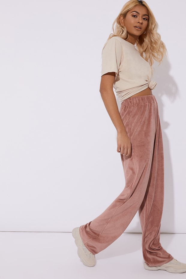 OLISSA PINK TEDDY VELOUR WIDE LEG TROUSER