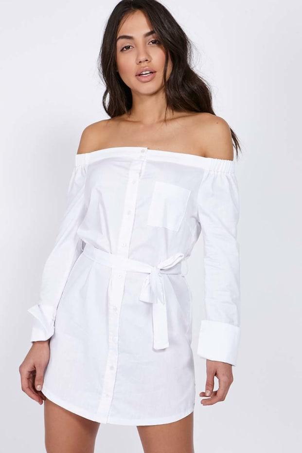 CHARLOTTE CROSBY WHITE BARDOT SHIRT DRESS
