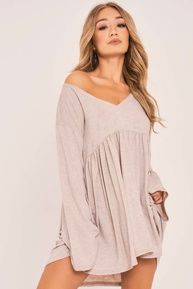 KACEE STONE FLARED SLEEVE JERSEY DRESS
