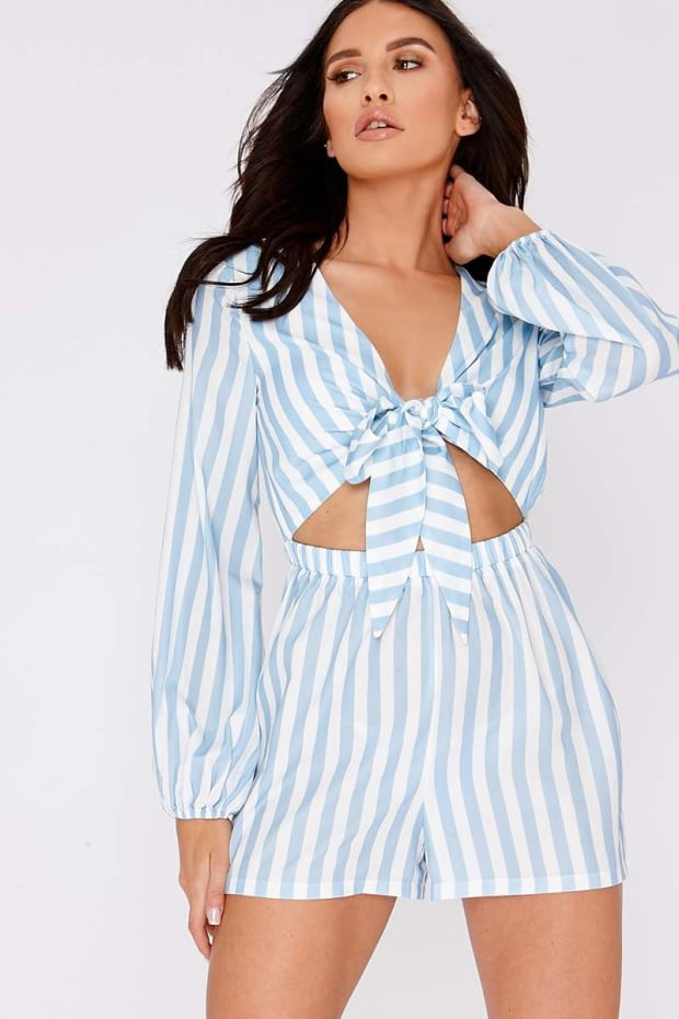 CHARLOTTE CROSBY BLUE STRIPED TIE FRONT PLAYSUIT