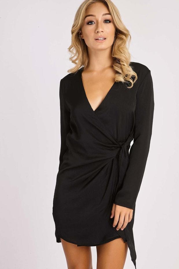 CELESTINE BLACK SILKY WRAP SHIRT DRESS