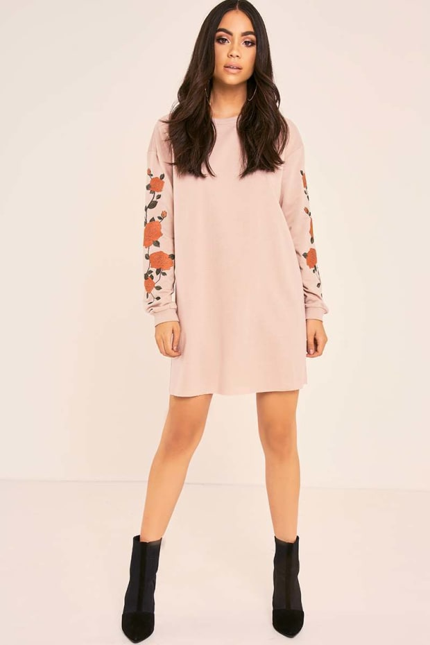 BINKY MOCHA FLORAL EMBROIDERED OVERSIZED SWEATER DRESS