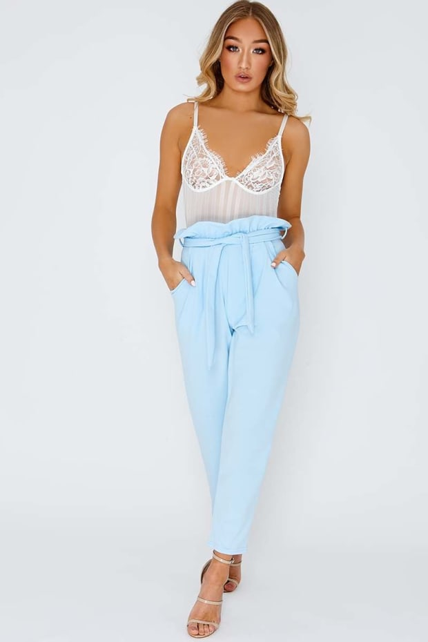 5b380107692 CODIA BABY BLUE PAPERBAG SKINNY TROUSERS. 1