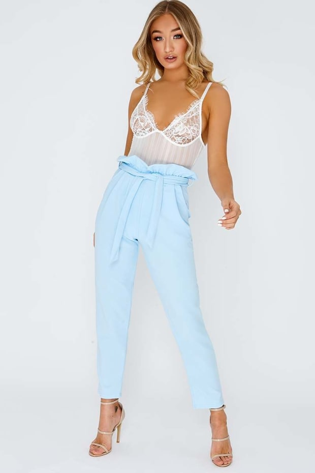 c8a5fab1bfa Codia Baby Blue Paperbag Skinny Trousers