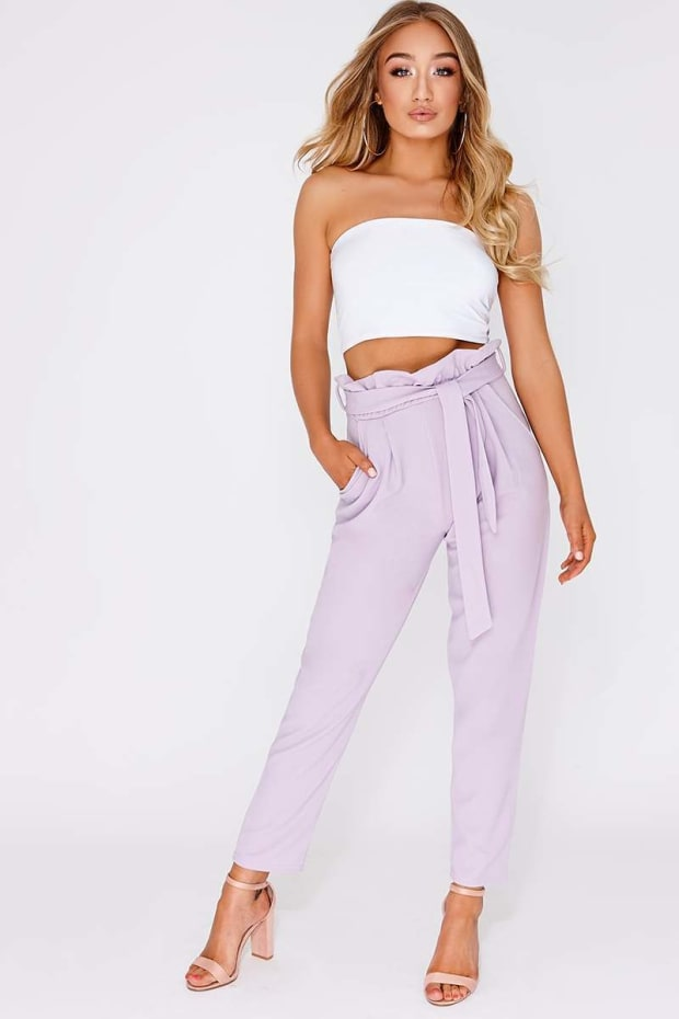 CODIA LILAC PAPERBAG SKINNY TROUSERS