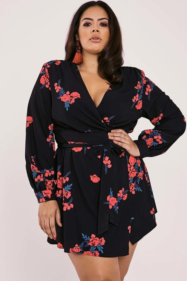 CURVE BINKY BLACK FLORAL WRAP FRONT DRESS