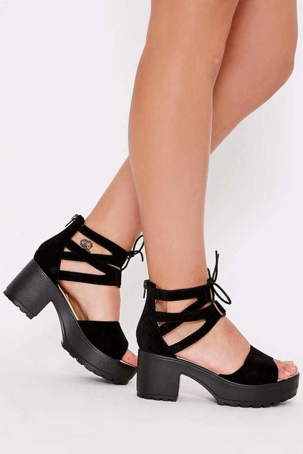 NAREENA BLACK FAUX SUEDE CROSS STRAP LACE UP FLATFORMS