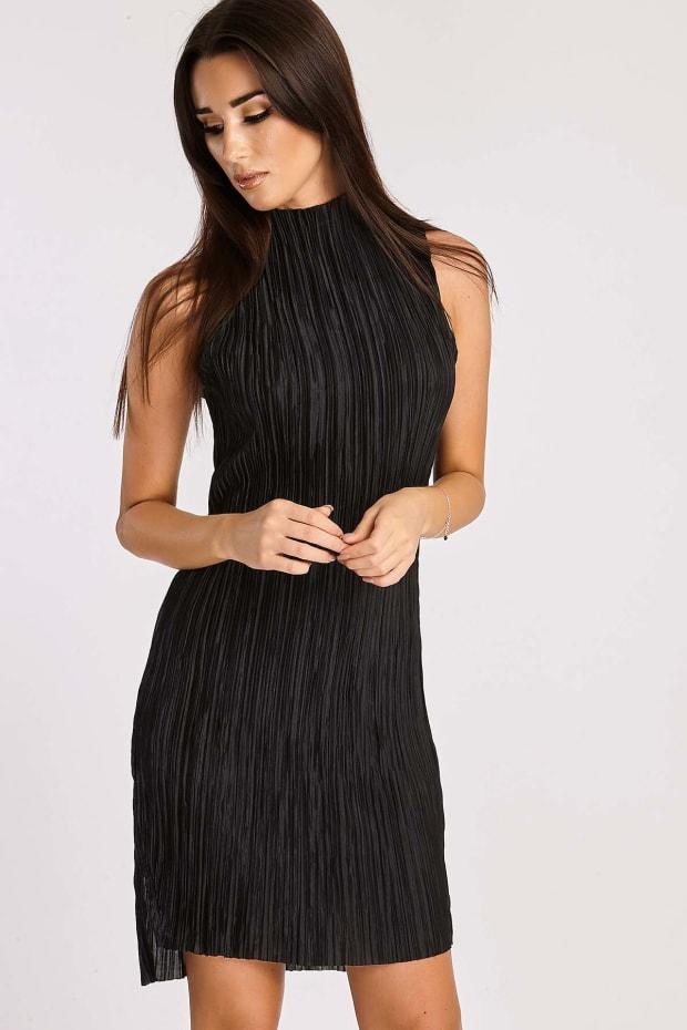 DELINA BLACK CRINKLE HIGH NECK SPLIT SIDE DRESS