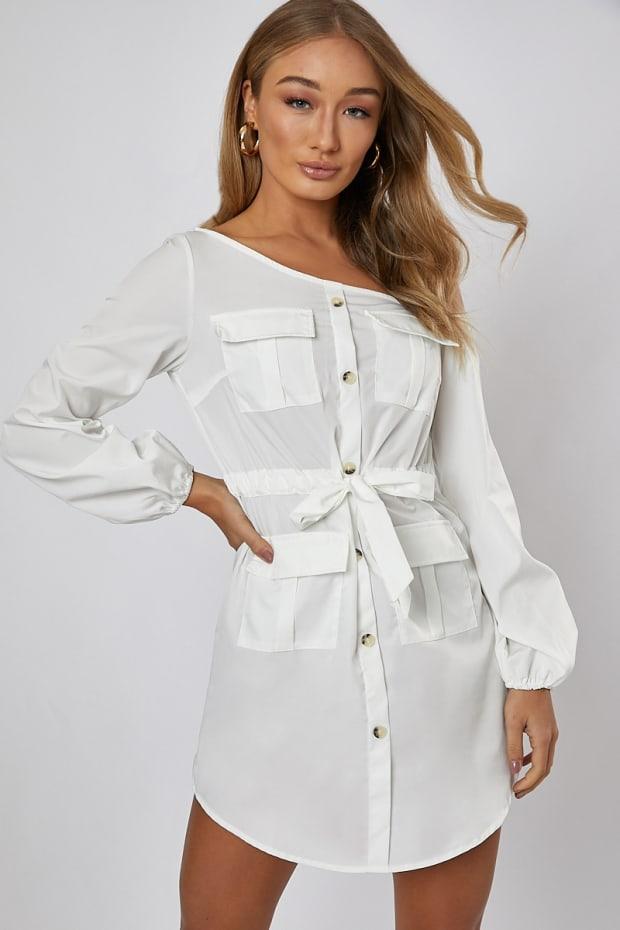 FABRIZIAH WHITE OFF THE SHOULDER SHIRT DRESS