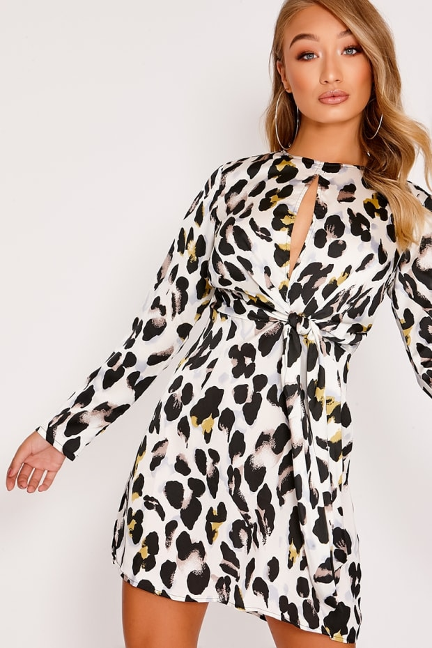 LOISE WHITE LEOPARD PRINT SATIN TIE FRONT MINI DRESS
