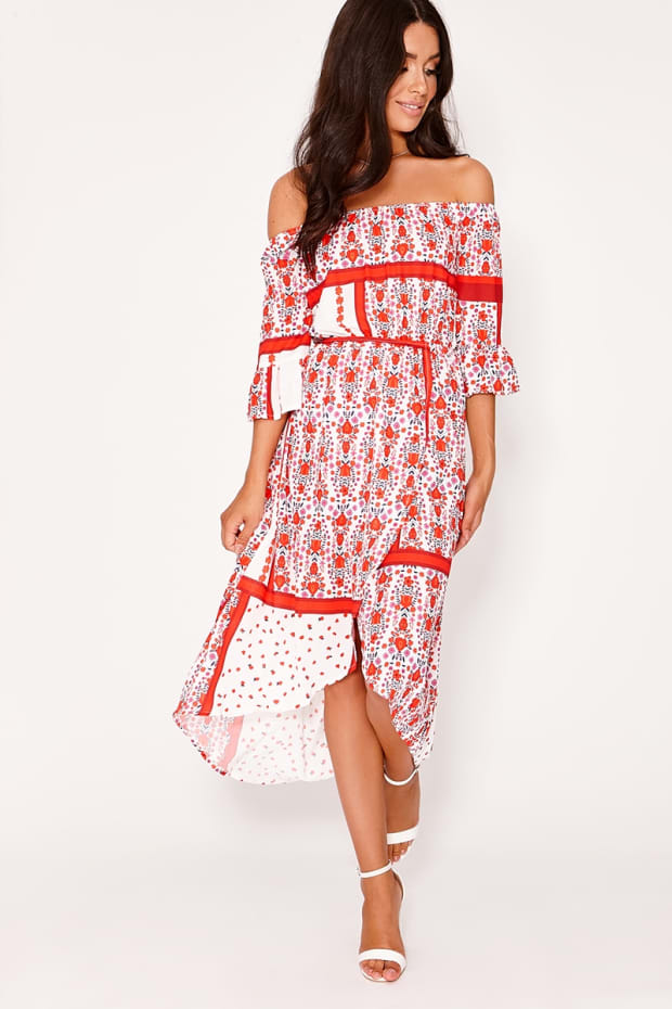 HATTIE RED FLORAL SCARF PRINT BARDOT MAXI DRESS