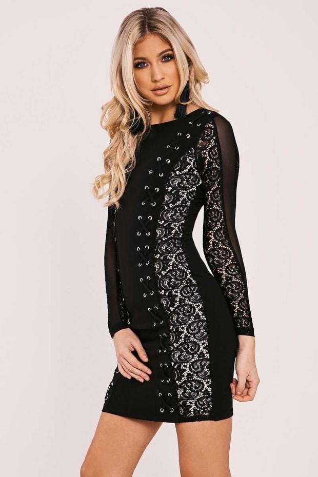 BENNA BLACK LACE PANELLED LONG SLEEVED DRESS