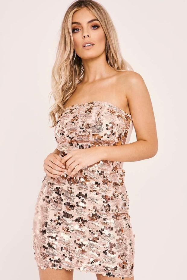 AFIA ROSE GOLD SEQUIN STRAPLESS DRESS