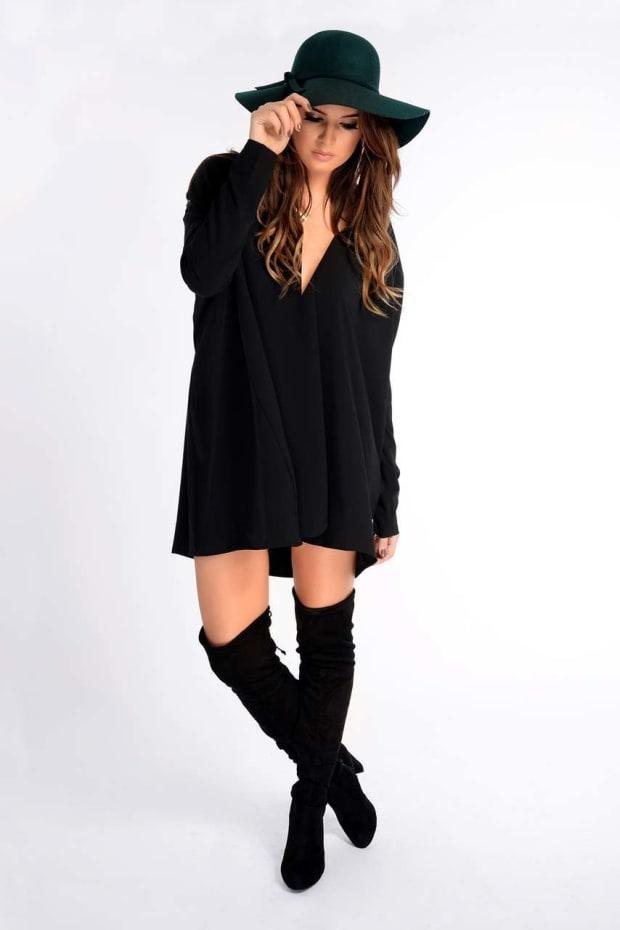 Binky Black Plunge Neck Drape Dress
