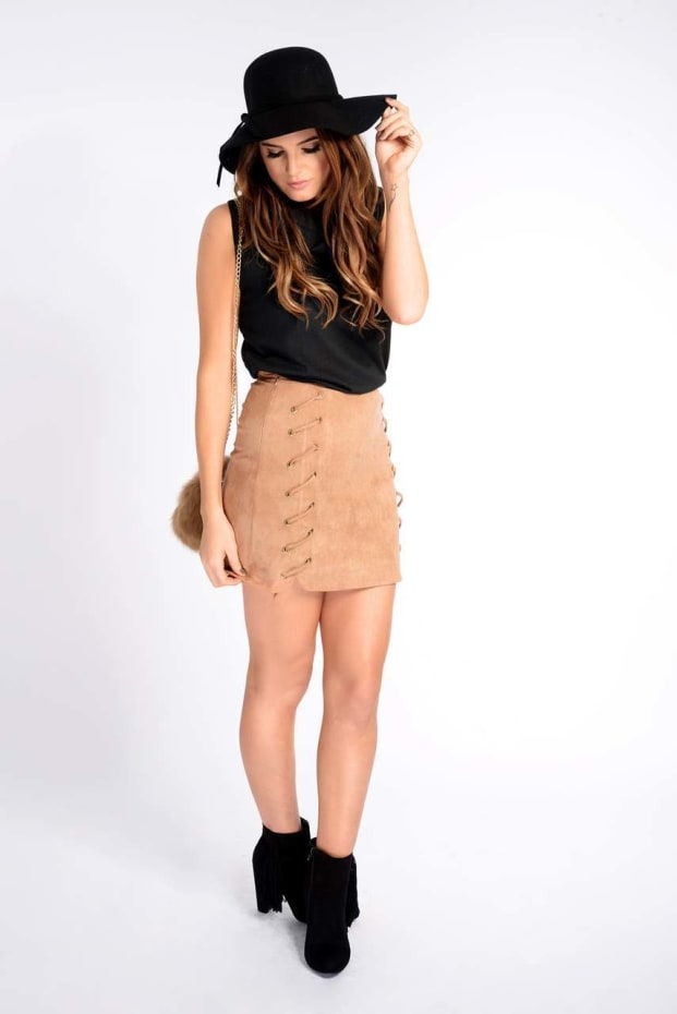 Binky Tan Faux Suede Lace Up Side Skirt