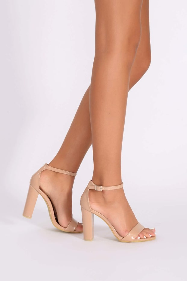 MORGAN NUDE PATENT ANKLE STRAP HEELS