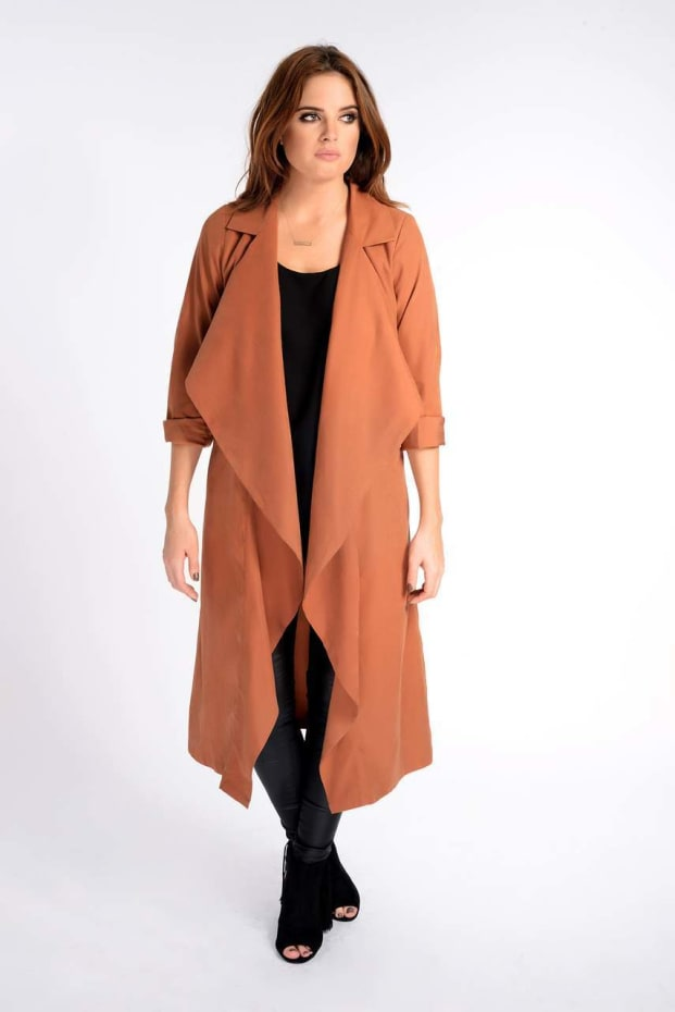 Binky Rust Waterfall Trench Coat