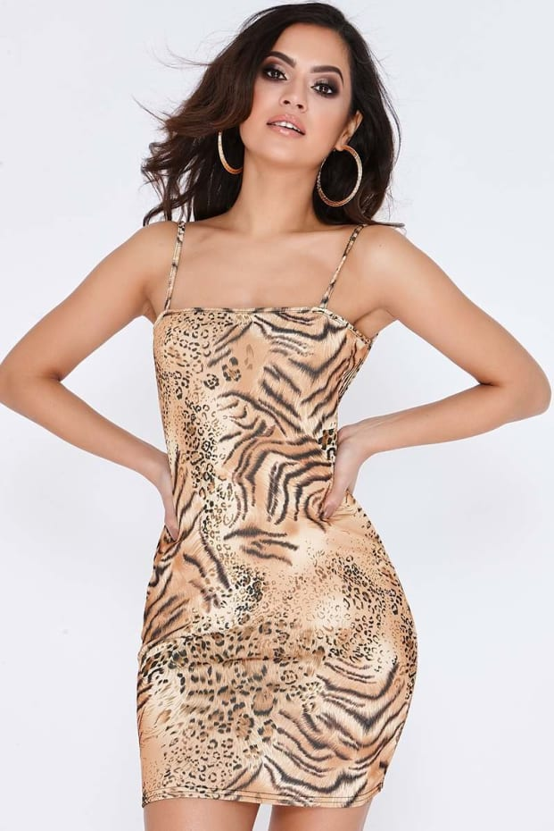 DESSA LEOPARD PRINT SQUARE NECK BODYCON DRESS