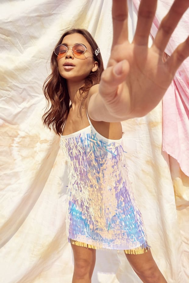 SARAH ASHCROFT IRIDESCENT SEQUIN SLIP DRESS