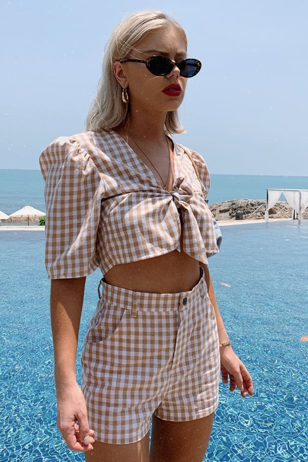 LAURA JADE NUDE GINGHAM HIGH WAIST SHORTS