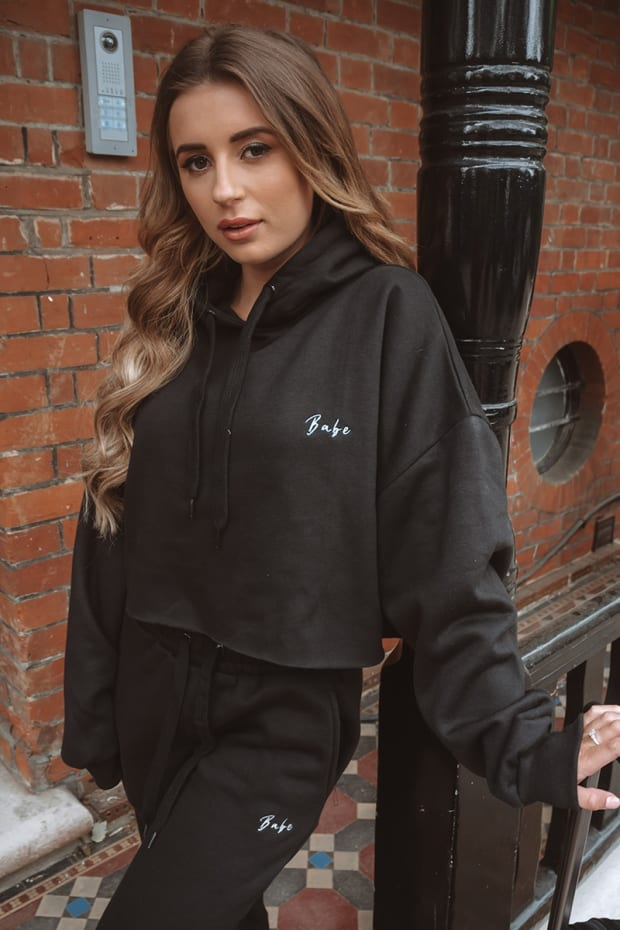 DANI DYER BABE BLACK EMBROIDERED CROPPED HOODIE