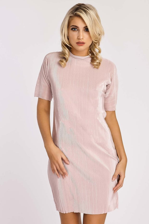 ELIANNA NUDE PLEATED SATIN TUNIC DRESS